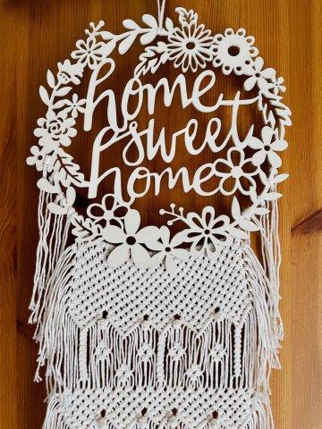 """Makramee mit Holzmotiv """"home sweet home"""""""